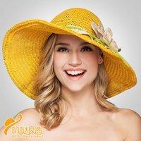 Moda colorido ajenjo grande flor de encaje sombrero de paja señoras verano sol sol protector solar gorra sombreros ancho ala