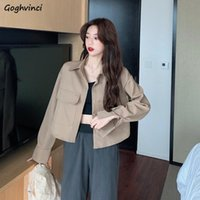 Women's Jackets Solid Short Basic Women Single Breasted Leisure Sexy Crop Tops All-match Retro Female Coats Turn-down Collar Outwear Ins