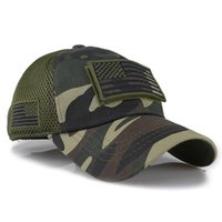 미국 국기 패치 자수 곡선 모자 위장 야구 모자 수 놓은 메쉬 모자 야외 탈착식 야구 군대 카모 모자 fwe8605