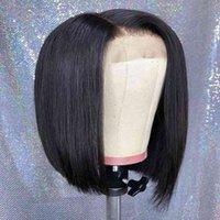 Parrucche indiano 2x6 bob pizzo parrucche parrucche brasiliane capelli vergini brasiliani pizzo di pizzo frontale capelli umani parrucche di capelli umani in pizzo svizzero parrucca frontale peruviana pre pizzicata