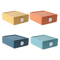 Storage Boxes & Bins Desktop Drawer Dust-proof Stationery Box Stackable Jewelry Cosmetics Organizer For Home Office, Light Green