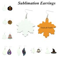 Sublimation Earrings Double Sided Leather Earring Pendants Sublimations Blanks Creative Gifts Thermal Transfer Leaves Earrings