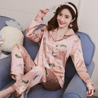Pajamas Set Leaf Print Womens Sleepwears Long Sleeves Faux Silk Satin Pyjamas Femme 2 Piece Pijamas Nightwear Home Clothes