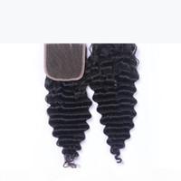 Derin Dalga 100% Bakire Brezilyalı Remy Saç Örgü Kapatma 4x4 Üç Bölüm Dantel Kapatma Parçası Doğal Renk 8-20 inç