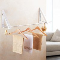 Laundry Bags Wall Mounted Clothes Hanger Aluminum Folding Drying Coat Racks Punch-free Home Storage Organiser OCT998