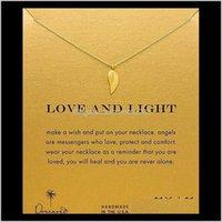 Подвески Drop Доставка 2021 Dogeared Choker Ожерелья с картой Золотая Силее Крыло Крыло Ожерелье для моды Женщины Ювелирные Изделия Любовь и Свет 59