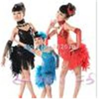 Wholesale-New Children Kids Sequin Feather Fringe Stage Performance Competition Ballroom Dance Costume Latin Dance Dress For Girls XC-4814