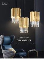 Small Round Gold k9 Crystal Modern Led Pendant Lamps Chandelier for Living Kitchen Dining Room Bedroom Bedside Luxury Indoor Lighting