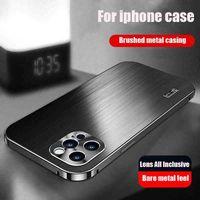 Caso do iPhone 12Promax, caso de detenção de queda com lente de metal escovado, incluindo todos os acessórios