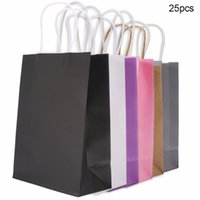 Gift Wrap 25Pcs Pack Bag Kraft Packaging Handle Paper Storage For Wedding Candy Favor With Packing Christmas