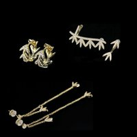 S925 فضة لوريل ليف غير المتماثلة الأذن عودة كليب أقراط شخصية الأزياء الفاخرة مجوهرات موناكو حلق هدية لصديقة