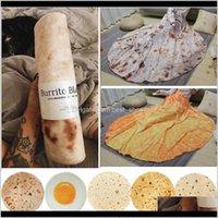 Textiles Home Garden Drop Delivery 2021 Soft Warm Flannel Burrito Round Shape Throw Blanket Coral Fleece Tortilla Nap Wrap Travel Blankets Xd