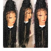 New natural 13X4 Lace Frontal Goddess Box Braids Wigs Curly style free part Synthetic Swiss Lace Front Wigs for black women