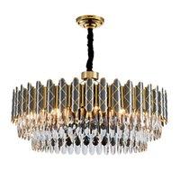 Pós-moderno led chandeliers preto luxo cristal iluminação simples atmosfera sala de estar quarto jantar lâmpadas pingente ac 100-240V