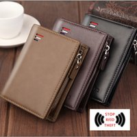 Mens New Wallets Classic Short Card Holder Male Fashion Purse High-quality Wallet With Zipper Large Capacity PU Leather Bag