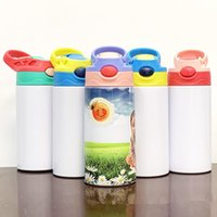 380ML Sublimation Blank Waters Bottles Straight Sippy Cup Heat Transfer Children Water Bottle Portable Stainless Steel Kettle Thermos Cups