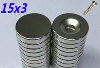 20 шт. (10шт с отверстиями + 10шт не имеют отверстий) Магниты Размер диаметра диаметром 15x3 мм круглый сильный редкоземельный неодимовый магнит