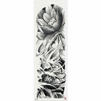 Autoadesivo del tatuaggio temporaneo del fiore del loto nero 1 pezzo con braccio corpo arte grande manica grande adesivo tatuaggio falso