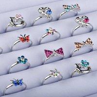 5pcs mélanger lots mignon cristal strass enfants enfants ajustable argent couleur couleur bagues bijoux cadeaux style aléatoire Envoyer q0708