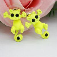 Moda Sevimli Kedi Saplama Küpe Renkli Kitty Çiviler Hayvan Kulak Yüzük Moda Takı Hediye 10 Renkler 759 T2