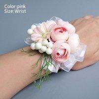 Flores decorativas grinaldas noiva corsage artificial casamento flor laço folhas decoração dama de honra pulso casa pequena chá rosa