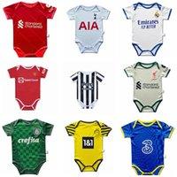 2021 Baby kit Джобские футболки Milan Manchester Детский костюм Мальчики Детский Париж Футбол футбол Юнайтед 21 22 Реал Мадрид Униформа Месси 6-18 Месяц Человек Топ Сын