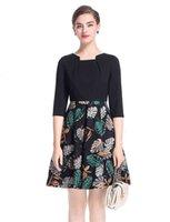 Moda stampa donna A-line Dress Colletto quadrato Mezza manica OL Office Lady Dresses Dresses 0917189