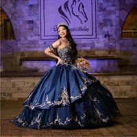 2022 Gorgeous Puffy Embroidered Quinceanera Dresses Nave Blue Satin With Gold Lace Off Shoulder Detachable Skort Sleeves Beaded Princess Prom Party Gowns
