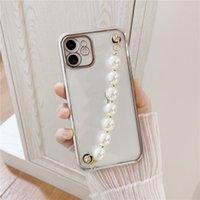 Lantejoulas de glitter de moda com pérola Chain Cell Phone Pulseira Bling TPU Clear Case para Apple 7 8PLUS X 11 12 Pro Max