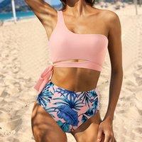 Sexy bikini mujeres 2021 Bañador de alta cintura de alta cintura Un hombro Swimwear Bandeau Traje de baño Imprimir Playa Use Solid Bijquini Set Femenino 1160 Z2
