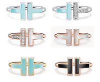 TIFF 925 Sterling Silver Open Band Ringar, Märke Classic Mor-of-Pearl Double T Ring