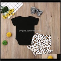 Sets Baby, Kids & Maternitytelotuny Childrens Clothing Born Baby Girls Short Sleeve Leopard Print Clothes Romper Tops+Shorts+Hairband Summer