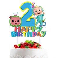 Cocomellon Baby Family Cake Pтурка аксессуары для детей милый мультфильм JJ мальчиков с днем рождения до 1/2 летнего украшения партии большой флаг для детей G404JVP