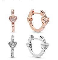 Diseño Luxury 18k Rose Gold Signature Heart Pendientes Caja original para Pandora Style 925 Sterling Silver Women Set