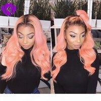 고온 브라질 자연 머리 바디 웨이브 합성 가발 긴 Ombre 핑크 합성 레이스 프런트 가발 여성을위한