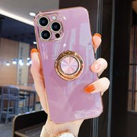 Luxury Square Soft Case For iPhone 12 11 13 Pro Max Mini XS XR X S 7 8 Plus iPhone13 iPhone11 13Pro Stand Ring Holder Cute Cover