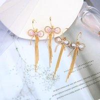 Dangle Chandelier Uer Delicato Zircone Bowknot Goccia Orecchini per le donne Colore oro Ottone Catene lunghe Catene lunghe nappa di moda gioielli accessori