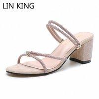 LIN King Новый стиль Женщины Тапочки Летняя обувь Женщины Сандалии Ctrstal Квадратный каблук Женские Открытые Повседневные Сандалии Тапочки Q8QP #