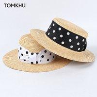 Nouveau chapeau d'été plateau plateau naturel chapeau de boater paille femme femme plage chapeaux chapeaux blanc noir ruban de ruban chapitre feminino cape chapeau de soleil