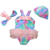 One-Pieces Kids Swimwear Suits Baby Swimming Girls Swimsuit Children Clothing Mermaid Beach Hats Headbands 3Pcs Sets Outfits 1-10Y B4958