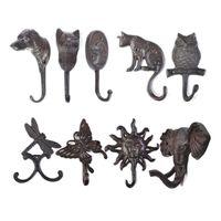 Gancio in ghisa rustico Dog / Cat / Gufo / Libellula / Farfalla / Luce solare / Elephant Hanger Key Key / Coat Rack Decor Cucina Bagno da cucina 210609
