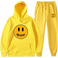 Drew House Tracksuits Sweatshirt Set Smiley Face Print Sudadera con capucha Sudaderas Sweetpants para hombres y mujeres Pareja de trajes Diseñador High Street Sets S-XXXL