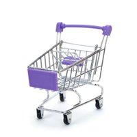 Storage Baskets C5AC Mini Supermarket Hand Trolley Shopping Utility Cart Basket Pretend Kids Toy 10 Colors