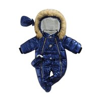 Down Coat Baby Winter Footed Jumpsuit, Glossy Hooded Long Sleeves Footies Romper With Gloves For Toddler Girls, Boys, 6-24 Months