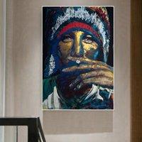 Mujer Fumar Pósteres Picaciones de lona Pintura de pared para la sala de estar Retrato Moderno Decoración para el hogar Pintura al óleo