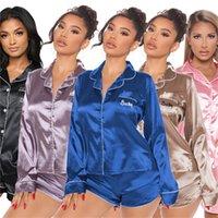 S-3XL Frauen Pagamas Buchstabe 2 Stück Set Solide Farbe Nachtwäsche Langarm Hemden + Mini Shorts Casual Babydolls Fashion Sleepwear 4257