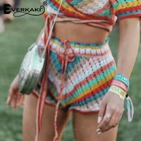 Everkaki Rainbow Striped вязаные шорты Летние Женщины Sashes цыганские Дамы Boho Dotts Женский CHIC 2021 Мода Женщины