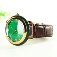 Verde Jadeiteer Jades Piedra Masculina Mujeres Parejas Cuarzo Reloj de pulsera Dark Retro Dulce Reloj Simple Reloj de pulsera