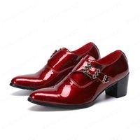 Masculino apontado toe negócio sapatos vermelhos de couro genuíno fivela puls canções tamanho sapatos de festa vestido homem sapatos