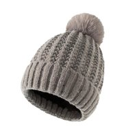 Beanies Pure Color Knitted Hats Women INS Beanie Caps Multi-function Wearing Winter Warm Hairball Cap Female